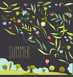Blooming flowers with summer landscape vector