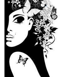 Silhouette of a woman with flowers and butterflies vector