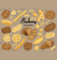 Set of isolated colored bakery products vector