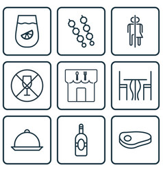 Set of 9 restaurant icons includes restaurant vector