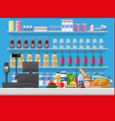 Cashier counter workplace supermarket interior vector