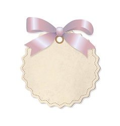 Pastel label with pink ribbon vector
