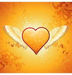 Lovely golden heart on golden background with wing vector
