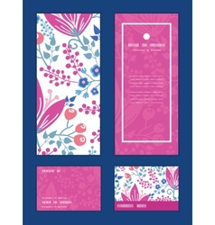 Pink flowers vertical frame pattern vector