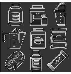 Athlete diet white line icons vector