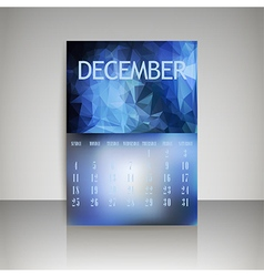 Polygonal 2016 calendar design for december vector