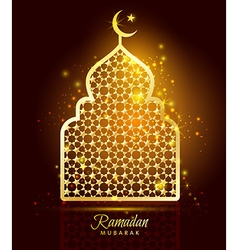 Ramadan kareem celebration with gold mosque vector
