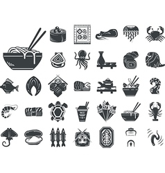 Seafood menu black monochrome icons vector