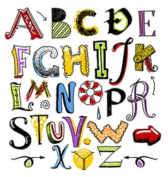 Doodle color alphabet vector