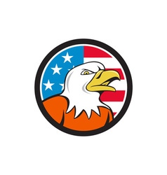 American bald eagle head angry flag circle cartoon vector