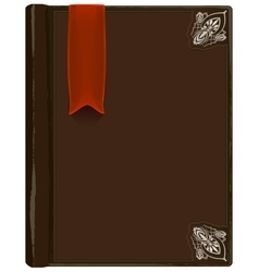 Closed brown book with bookmark vector
