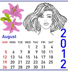 2012 year calendar in august vector