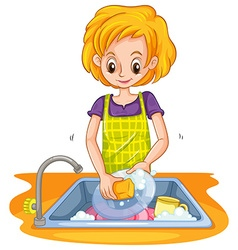 Woman doing the dish vector