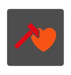 Heart hammer rounded square button vector