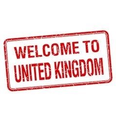 Welcome to united kingdom red grunge square stamp vector