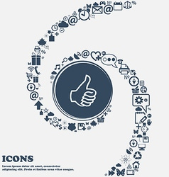 Like sign icon thumb up symbol hand finger-up in vector