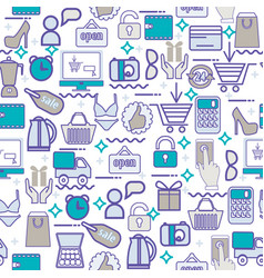 background with colorful shopping icons retail vector image