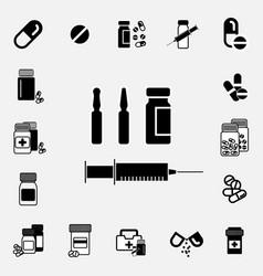 Black and white syringe icon vector