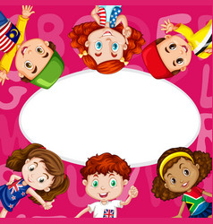 border template with kids from different countries vector image vector image