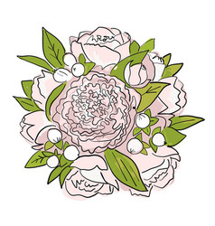 Bouquet of peonies sketch for your design vector