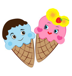 cartoon ice cream in love vector image vector image