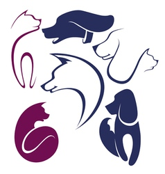 cats and dogs collection of pets symbols vector image vector image