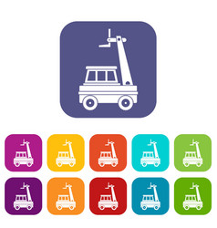 Cherry picker icons set flat vector