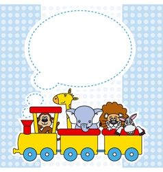 Children train with animals vector image
