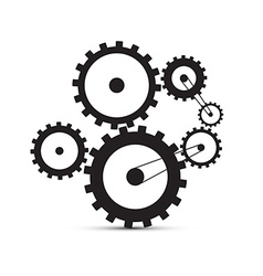 Cogs - Gears Black on White Background vector image