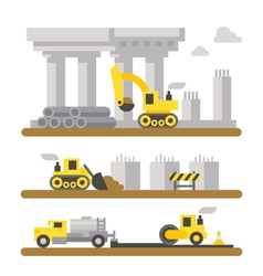 Construction site machineries flat design vector