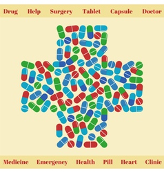 Cross shape with medical pills Medical concept vector image