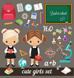 Cute schoolgirls and set school supplies vector