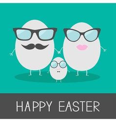 Egg easter family with lips mustaches and eyeglass vector image