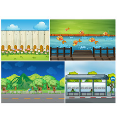 Four scenes with road and river vector