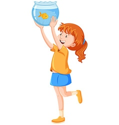 Girl and goldfish in the tank vector