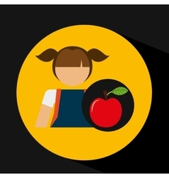 Girl uniform school apple icon vector