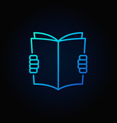 hands holding book blue icon vector image