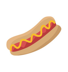 Hot dog with sausage ketchup and bread isolated vector