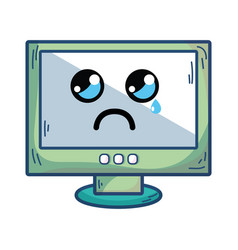 Kawaii cute crying computer technology vector