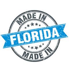 Made in florida blue round vintage stamp vector