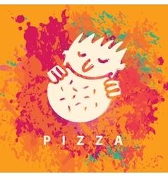 Man who eats pizza vector