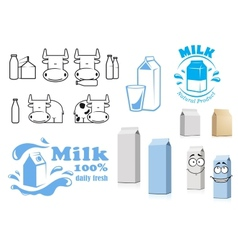 Milk packages cartoon characters with design vector image vector image