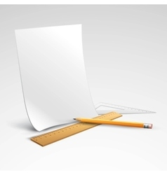 Pencil ruler and a piece of paper vector image vector image
