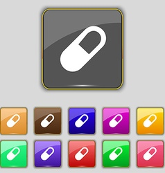 Pill icon sign set with eleven colored buttons for vector