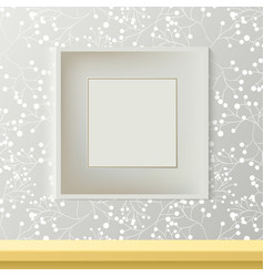printed grey wallpaper with empty frame for vector image vector image