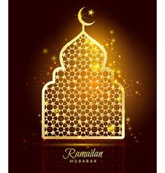 Ramadan kareem celebration with gold mosque vector