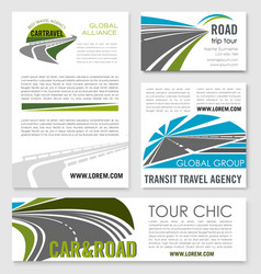 Road trip and car travel banner template set vector