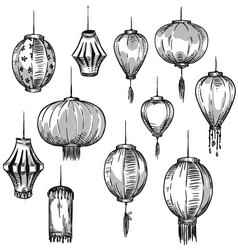 Set of Chinese lanterns vector image