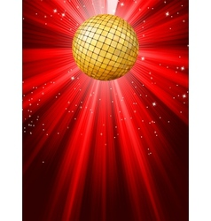 sparkling red disco ball vector image