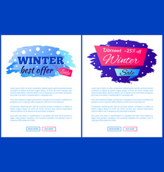winter best offer sale promo web posters with text vector image vector image
